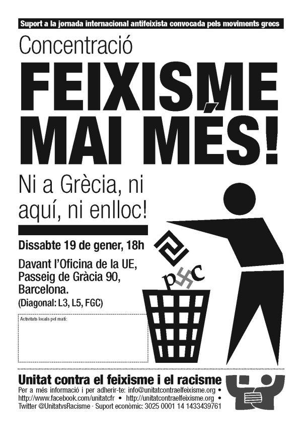 19-G: Feixisme mai més! Ni a Grècia, ni aquí, ni enlloc!